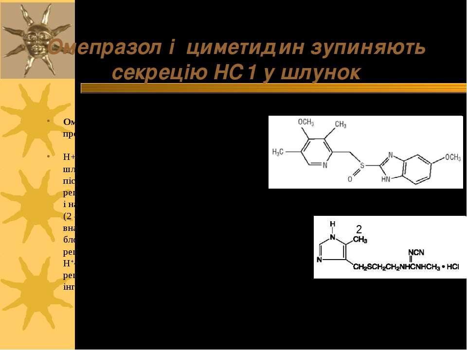 Омепразол і циметидин зупиняють секрецію НС1 у шлунок Омепразол (1) безпосере...