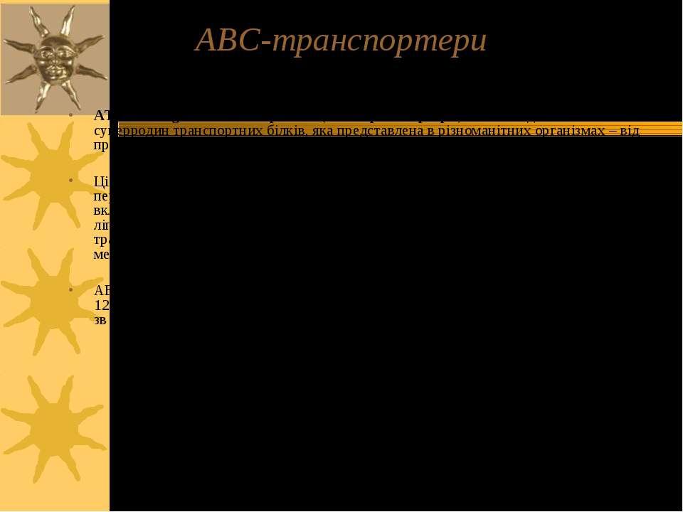 АВС-транспортери ATP-binding cassette transporters (ABC-транспортери) – члени...