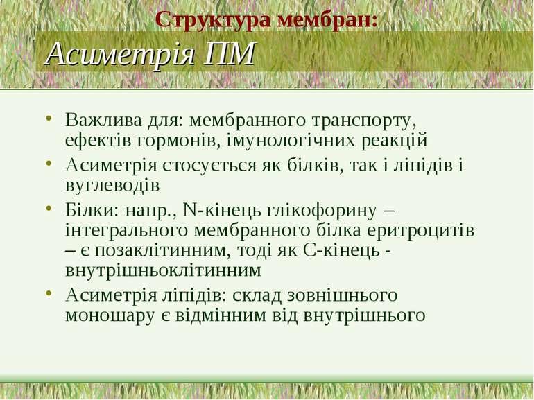 Асиметрія ПМ Важлива для: мембранного транспорту, ефектів гормонів, імунологі...