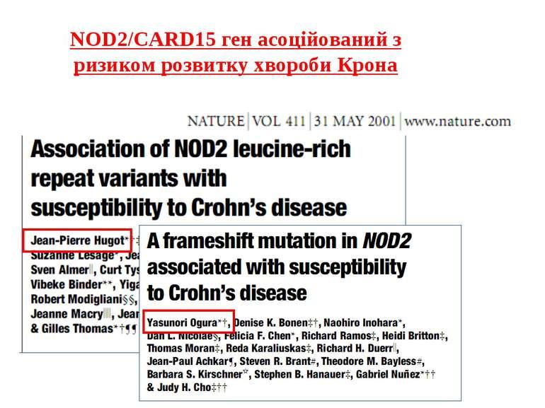 NOD2/CARD15 ген асоційований з ризиком розвитку хвороби Крона