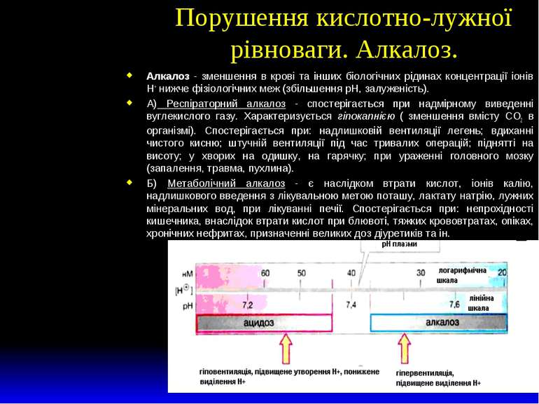 Порушення кислотно-лужної рівноваги. Алкалоз. Алкалоз - зменшення в крові та ...