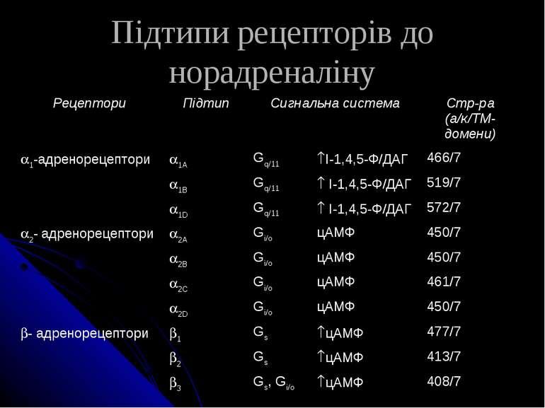 Підтипи рецепторів до норадреналіну Рецептори Підтип Сигнальна система Стр-ра...