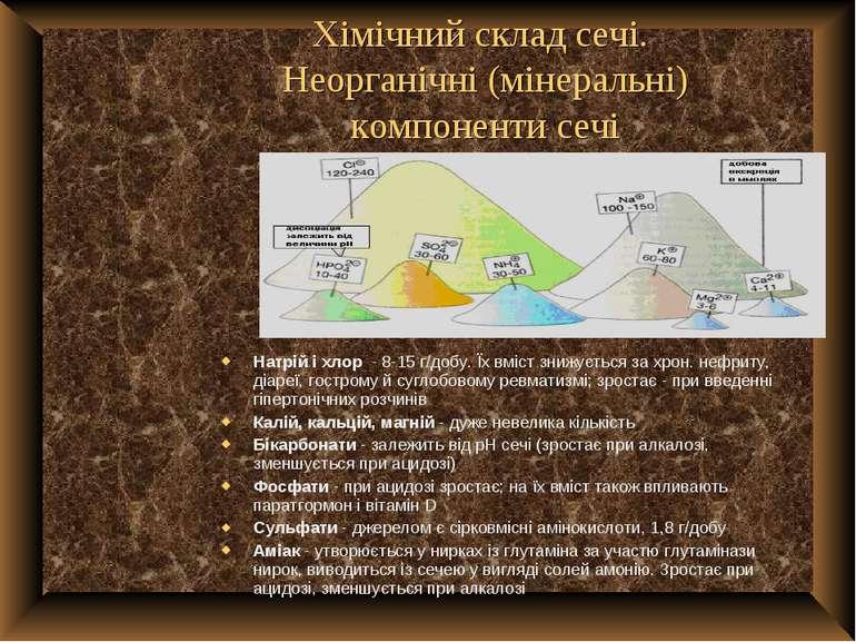 Хімічний склад сечі. Неорганічні (мінеральні) компоненти сечі Натрій і хлор -...