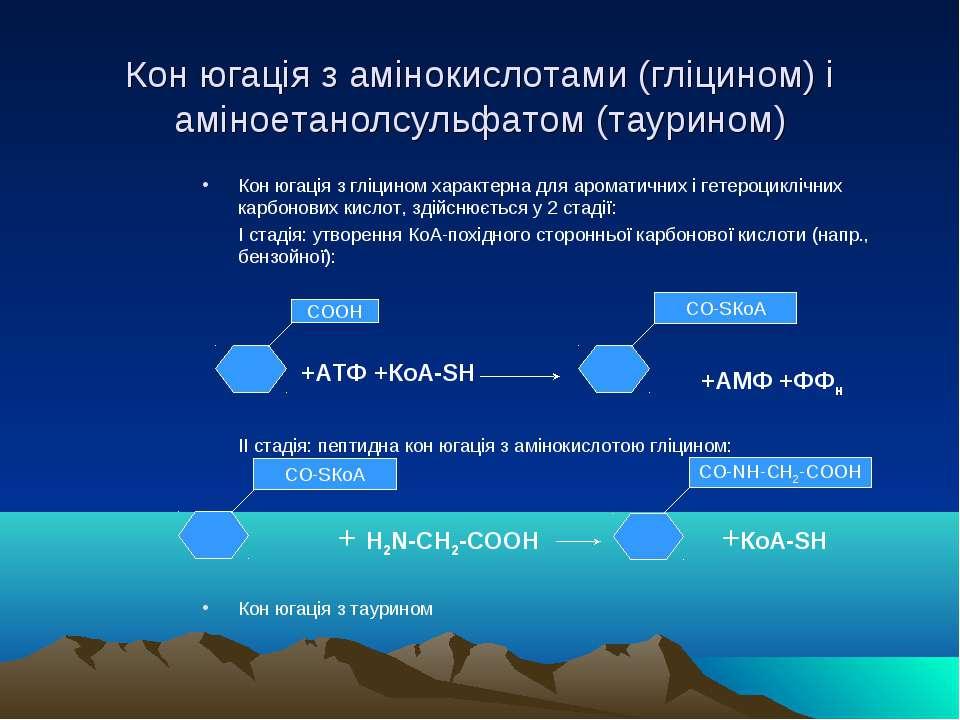 Кон югація з амінокислотами (гліцином) і аміноетанолсульфатом (таурином) Кон ...