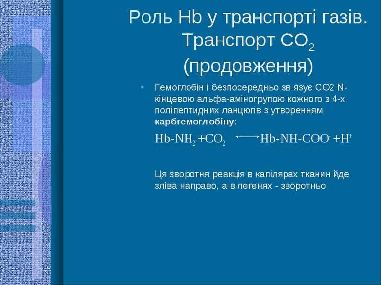 Роль Hb у транспорті газів. Транспорт СО2 (продовження) Гемоглобін і безпосер...