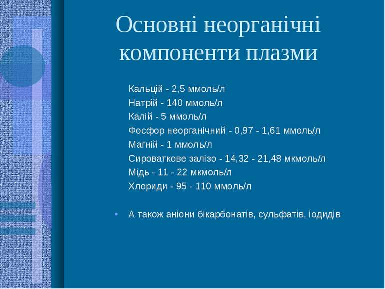 Основні неорганічні компоненти плазми Кальцій - 2,5 ммоль/л Натрій - 140 ммол...