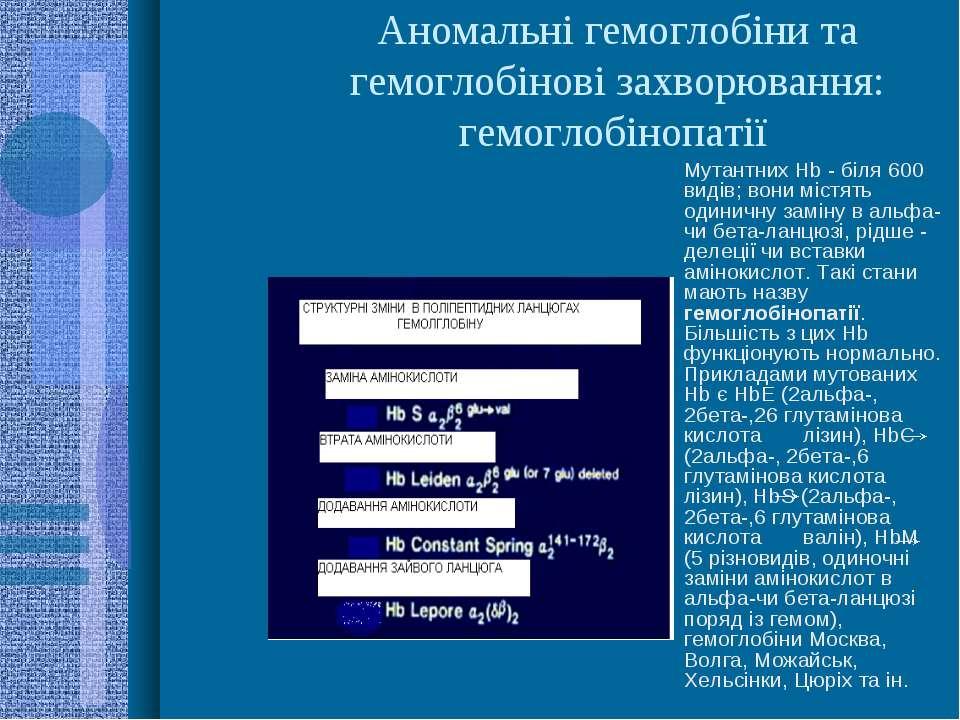 Аномальні гемоглобіни та гемоглобінові захворювання: гемоглобінопатії Мутантн...