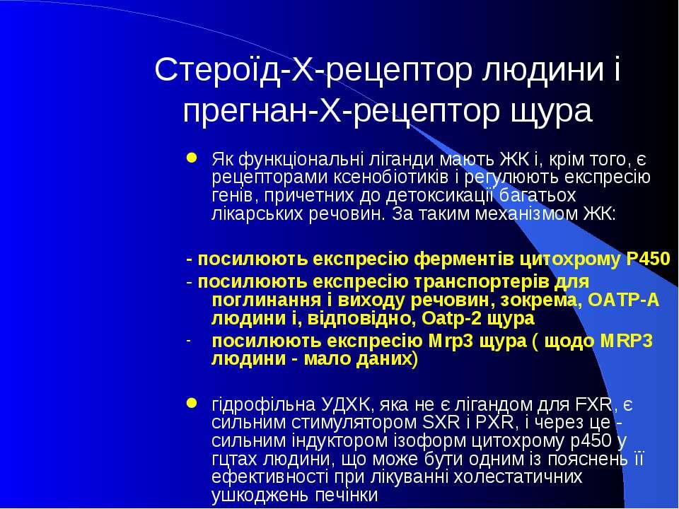 Стероїд-Х-рецептор людини і прегнан-Х-рецептор щура Як функціональні ліганди ...