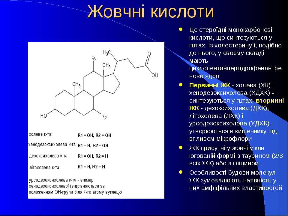 Жовчні кислоти Це стероїдні монокарбонові кислоти, що синтезуються у гцтах із...