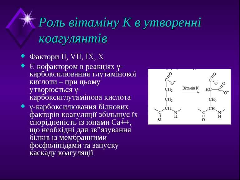 Роль вітаміну К в утворенні коагулянтів Фактори II, VII, IX, X Є кофактором в...