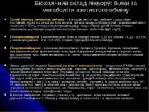Біохімічний склад ліквору: білки та метаболіти азотистого обміну Склад ліквор...