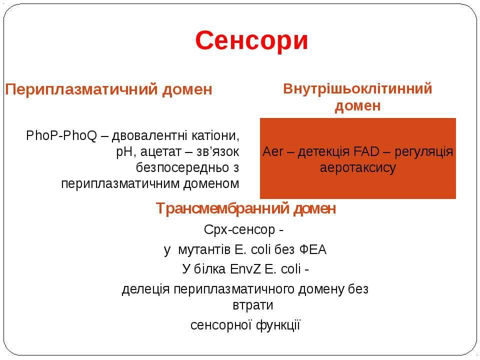 Сенсори Периплазматичний домен Внутрішьоклітинний домен PhoP-PhoQ – двовалент...