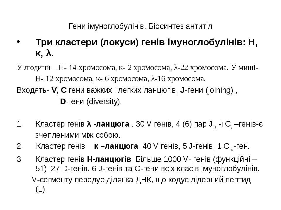 Гени імуноглобулінів. Біосинтез антитіл Три кластери (локуси) генів імуноглоб...