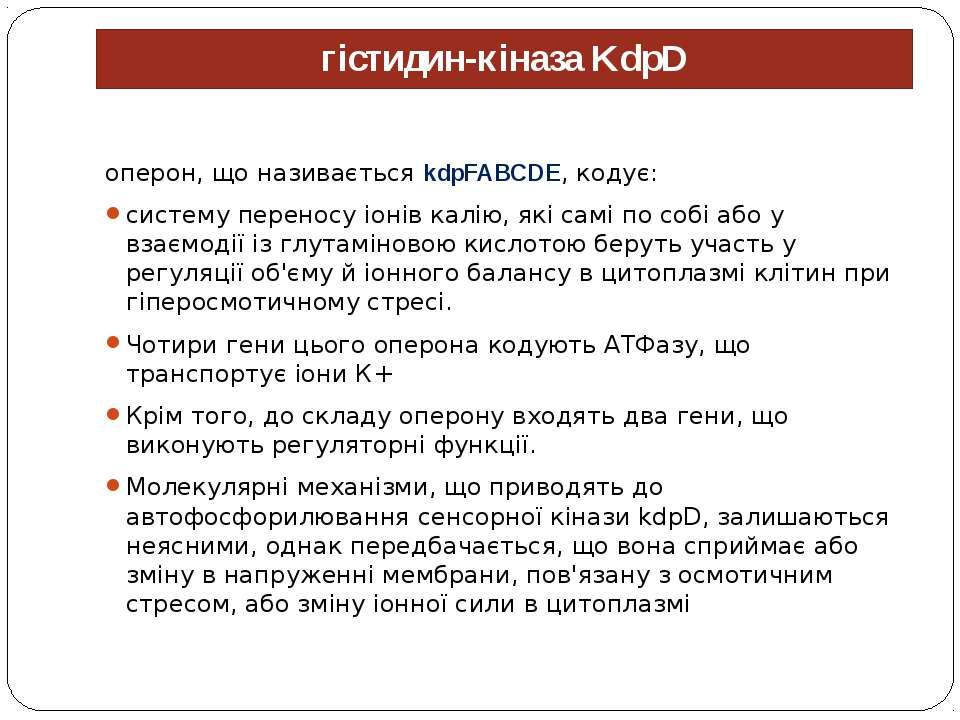 гістидин-кіназа KdpD оперон, що називається kdpFABCDE, кодує: систему перенос...
