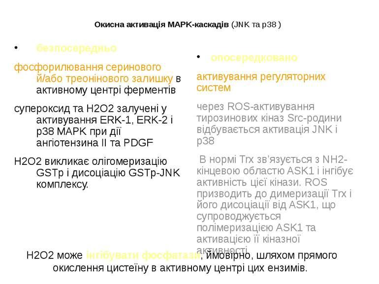 Окисна активація MAPK-каскадів (JNK та p38 ) безпосередньо фосфорилювання сер...
