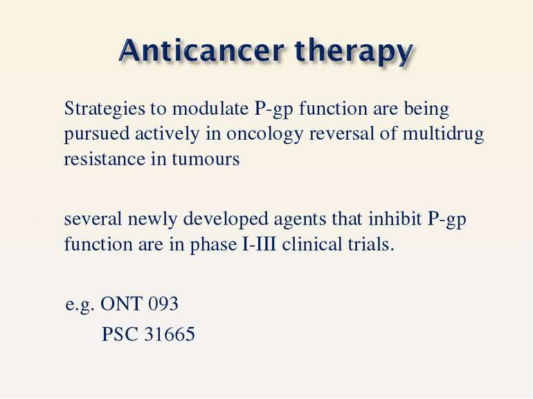 Strategies to modulate P-gp function are being pursued actively in oncology r...