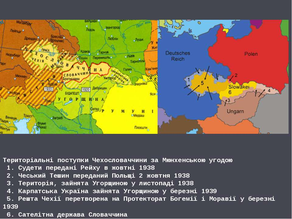 Територіальні поступки Чехословаччини за Мюнхенською угодою 1. Судети передан...