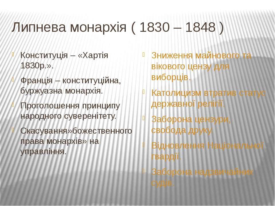 Липнева монархія ( 1830 – 1848 ) Конституція – «Хартія 1830р.». Франція – кон...