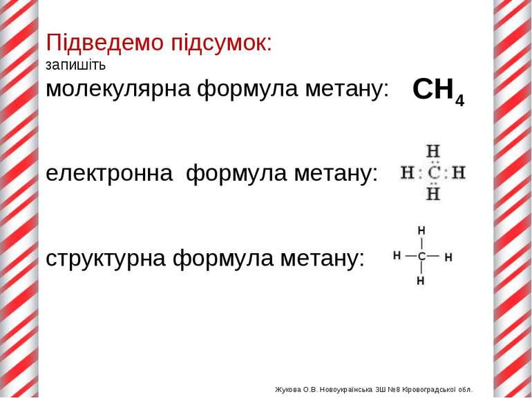 Підведемо підсумок: запишіть молекулярна формула метану: електронна формула м...