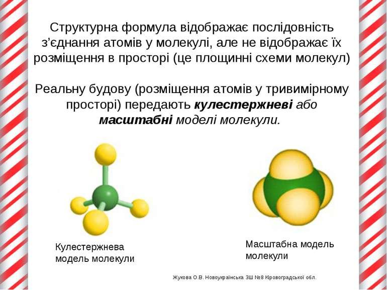 Структурна формула відображає послідовність з'єднання атомів у молекулі, але ...