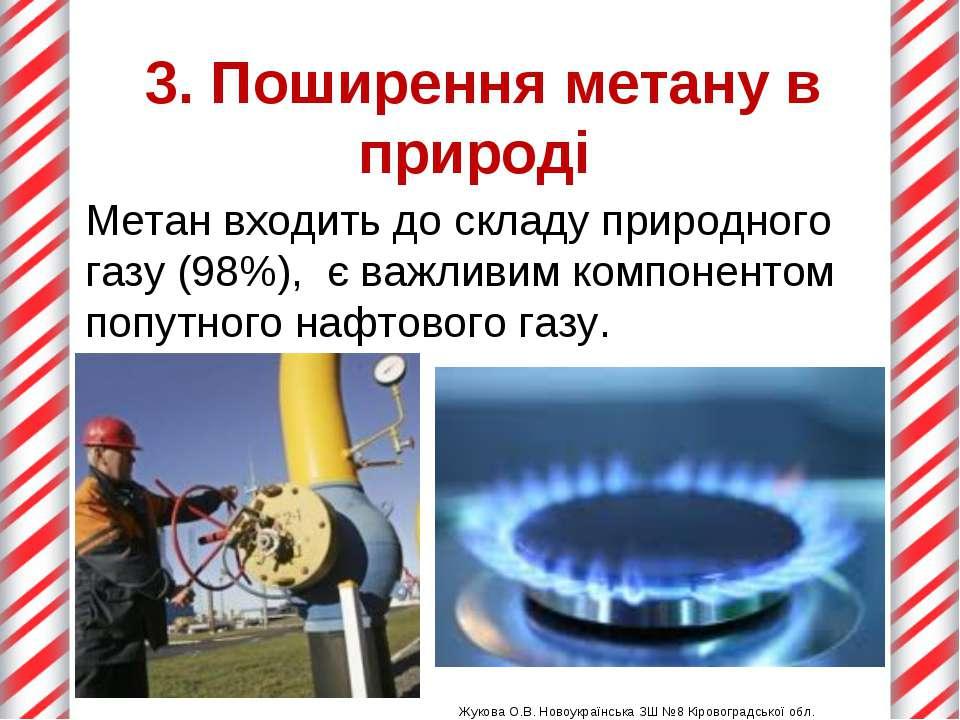 3. Поширення метану в природі Жукова О.В. Новоукраїнська ЗШ №8 Кіровоградсько...
