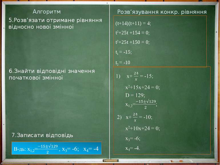 Алгоритм Розв'язування конкр. рівняння 7.Записати відповідь 6.Знайти відповід...