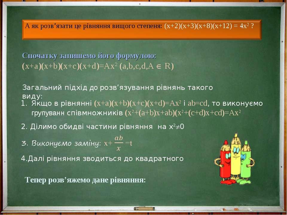 Спочатку запишемо його формулою: (х+а)(х+b)(x+c)(x+d)=Ax2 (a,b,c,d,A R) Загал...
