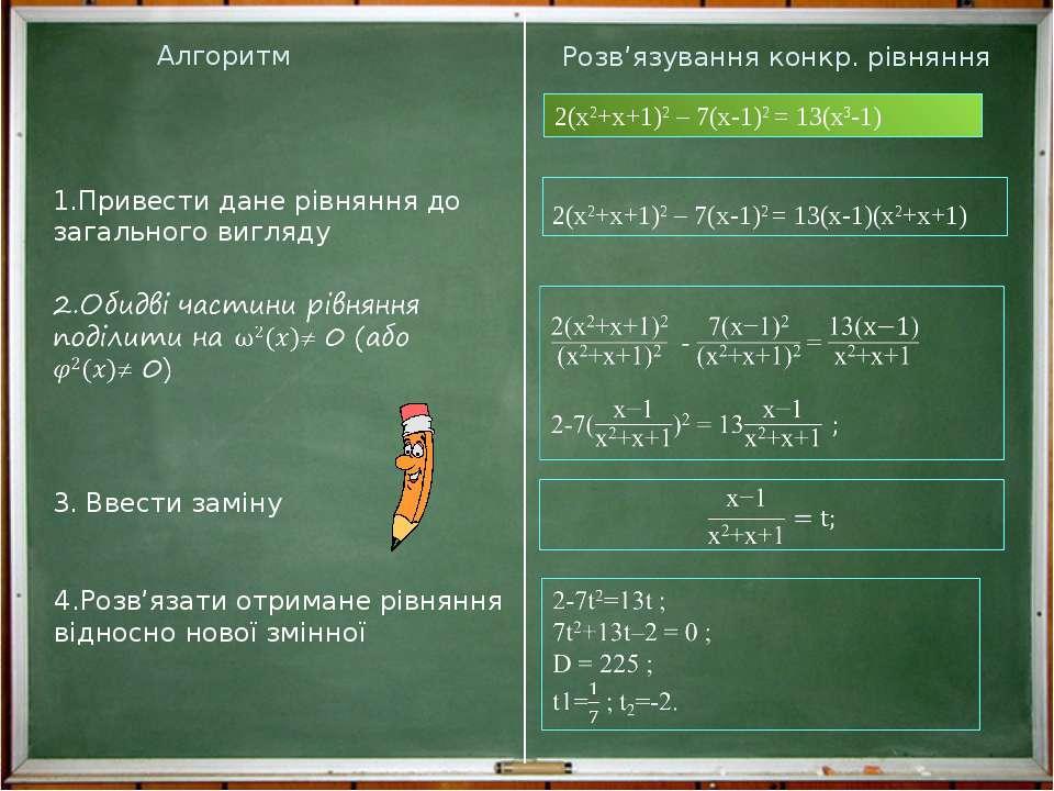 Алгоритм Розв'язування конкр. рівняння 1.Привести дане рівняння до загального...