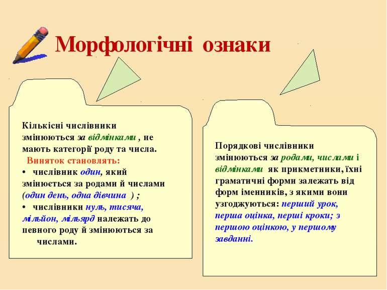 Морфологічні ознаки Кількісні числівники змінюються за відмінками , не мають ...