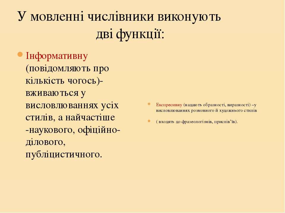 У мовленні числівники виконують дві функції: Інформативну (повідомляють про к...