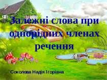Залежні слова при однорідних членах речення Соколова Надія Ігорівна