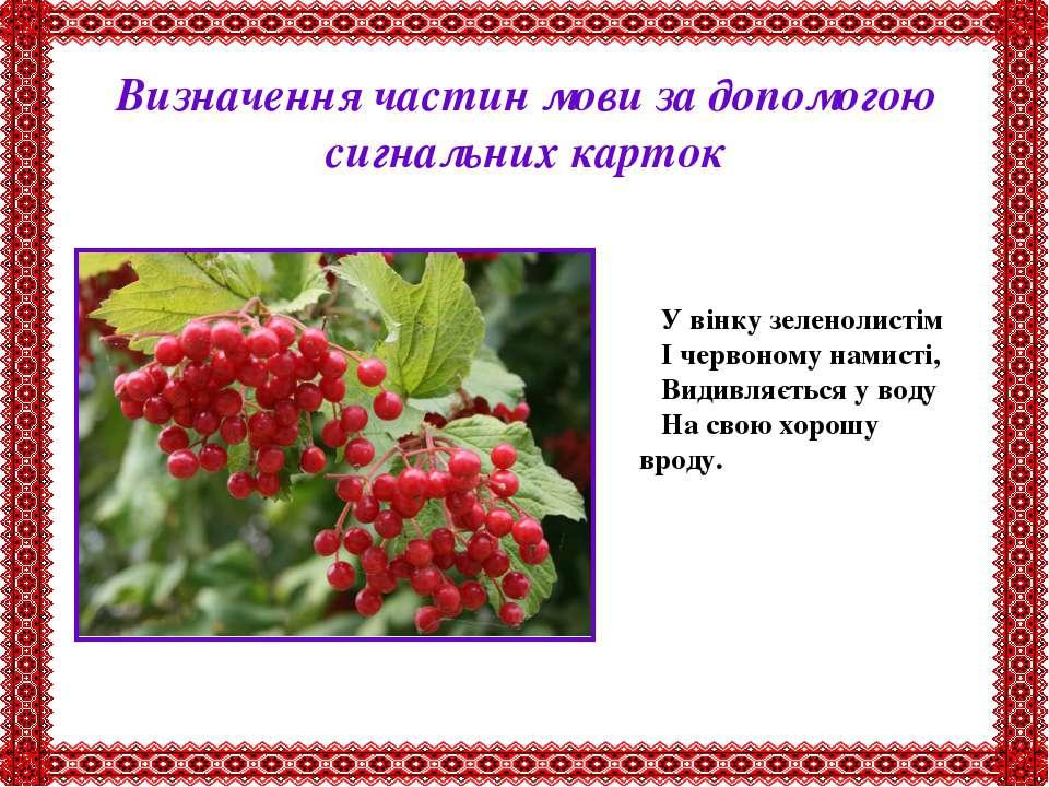 Визначення частин мови за допомогою сигнальних карток У вінку зеленолистім І ...