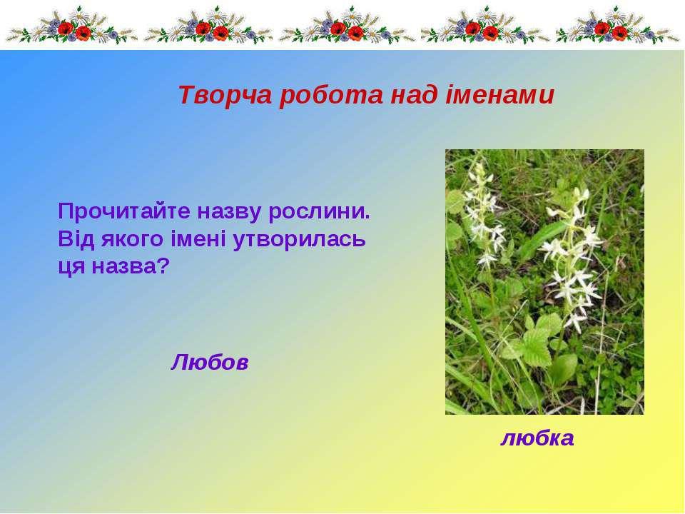 Прочитайте назву рослини. Від якого імені утворилась ця назва? Творча робота ...