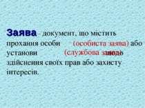 Заява – документ, що містить прохання особи або установи щодо здійснення свої...