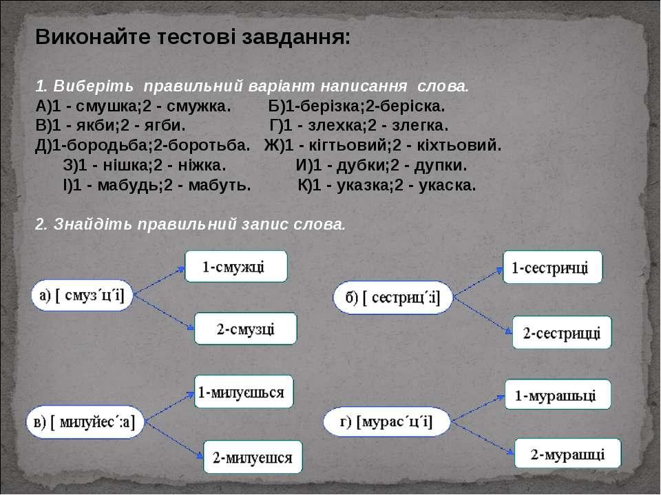 Виконайте тестові завдання: 1. Виберіть правильний варіант написання слова....
