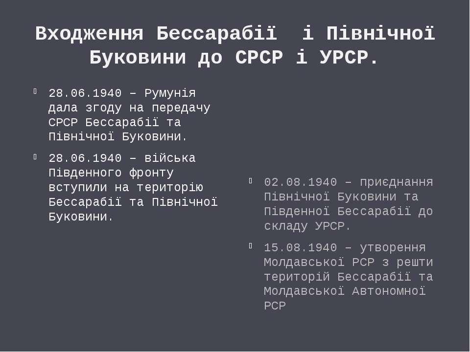 Входження Бессарабії і Північної Буковини до СРСР і УРСР. 28.06.1940 – Румуні...