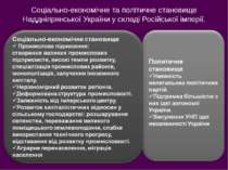 Соціально-економічне та політичне становище Наддніпрянської України у складі ...