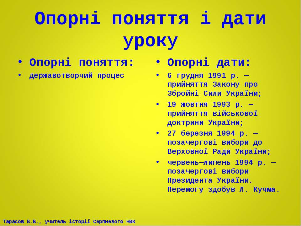 Опорні поняття і дати уроку Опорні поняття: державотворчий процес Опорні дати...