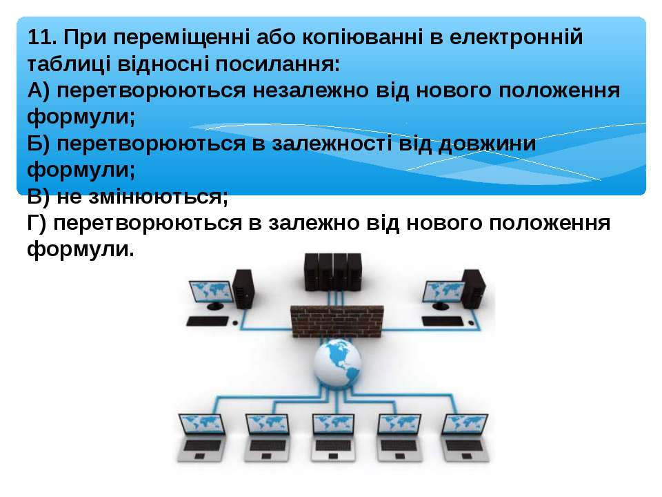 11. При переміщенні або копіюванні в електронній таблиці відносні посилання: ...