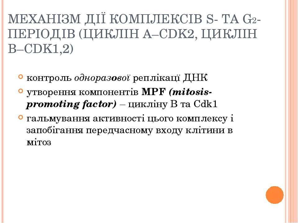 МЕХАНІЗМ ДІЇ КОМПЛЕКСІВ S- ТА G2-ПЕРІОДІВ (ЦИКЛІН А–CDK2, ЦИКЛІН B–CDK1,2) ко...