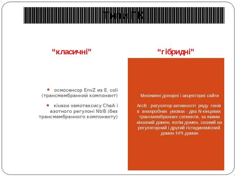 """Типи ГК """"класичні"""" """"гібридні"""" осмосенсор EnvZ из E. coli (трансмембранний ком..."""
