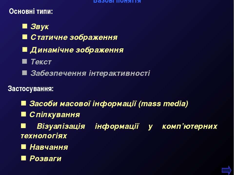 М.Кононов © 2009 E-mail: mvk@univ.kiev.ua * Базові поняття Основні типи: Звук...