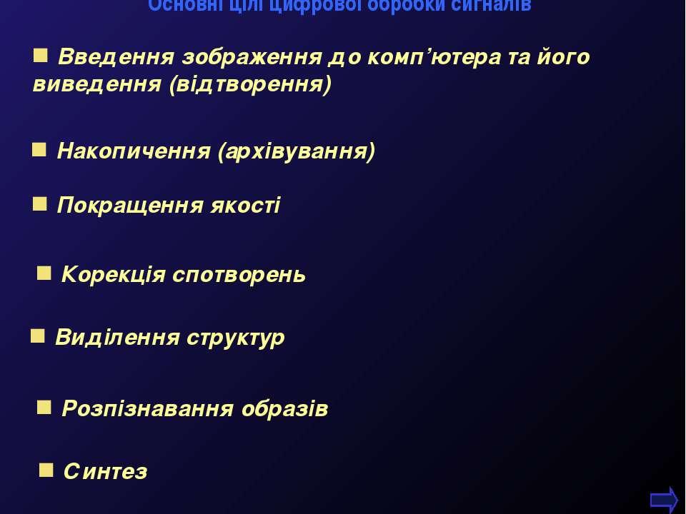 Синтез М.Кононов © 2009 E-mail: mvk@univ.kiev.ua Основні цілі цифрової обробк...