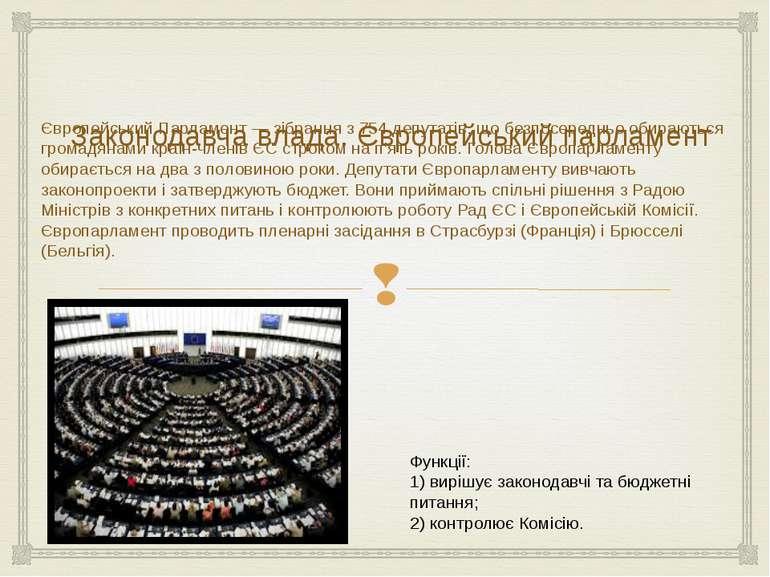 Законодавча влада. Європейський парламент Європейський Парламент — зібрання з...