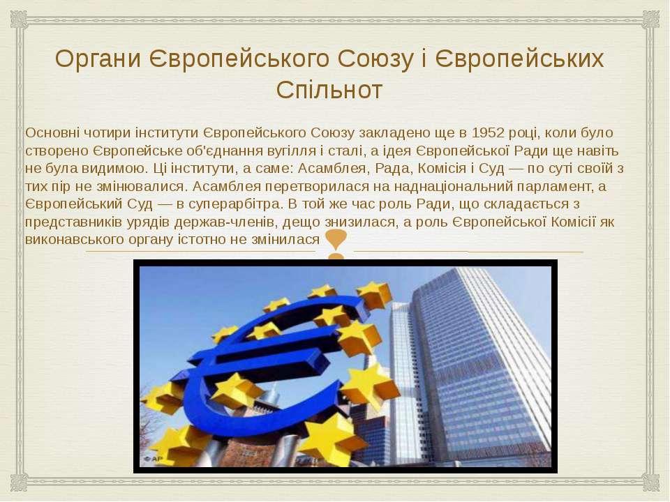 Органи Європейського Союзу і Європейських Спільнот Основні чотири інститути Є...