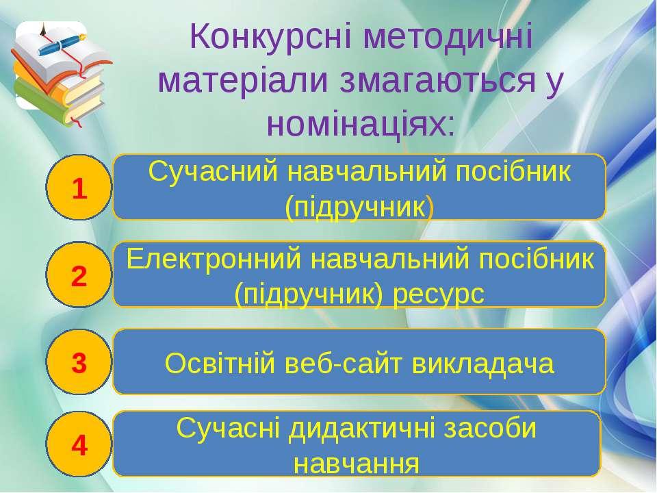 Конкурсні методичні матеріали змагаються у номінаціях: Електронний навчальний...