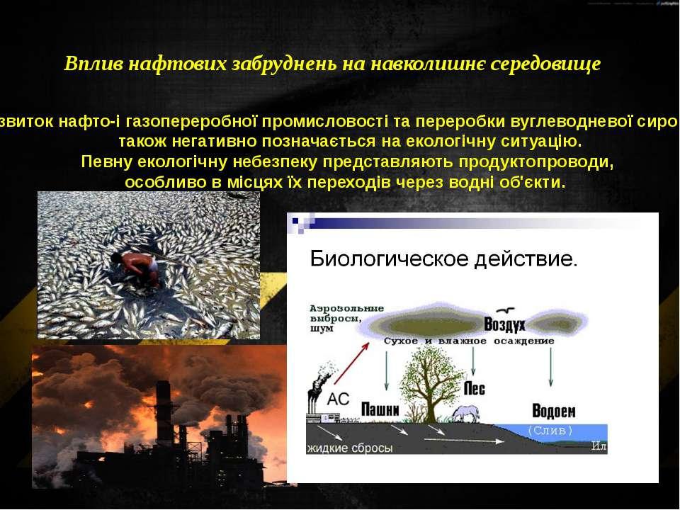 Вплив нафтових забруднень на навколишнє середовище Розвитокнафто-і газоперер...