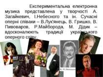 Експериментальна електронна музика представлена у творчості А. Загайкевич, І....