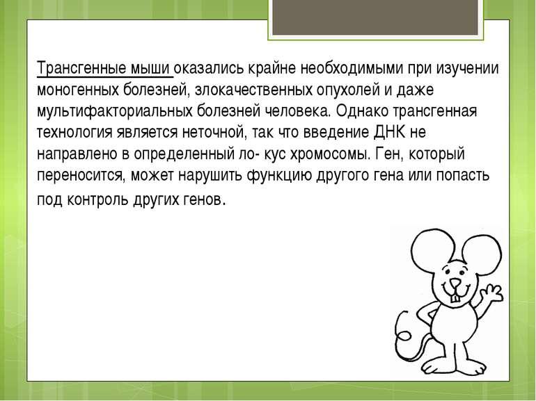 Трансгенные мыши оказались крайне необходимыми при изучении моногенных болезн...
