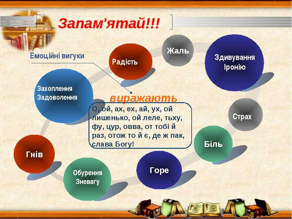 www.themegallery.com Запам'ятай!!! Гнів Жаль Біль О, ой, ах, ех, ай, ух, ой л...